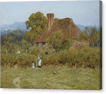 Cottage At Broadham Green Surrey In Sunset Light Canvas Print