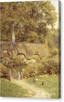 Cottage At Farringford Isle Of Wight Canvas Print by Helen Allingham