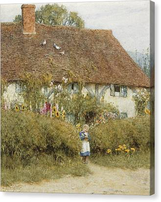 Cottage At West Horsley Surrey Canvas Print by Helen Allingham