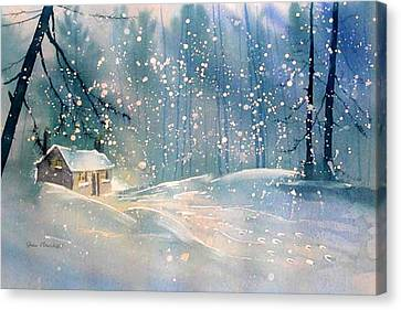 Cottage In The Snow Canvas Print