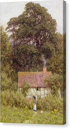 Cottage Near Brook  Canvas Print by Helen Allingham