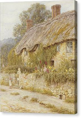 Cottage Near Wells Somerset Canvas Print by Helen Allingham