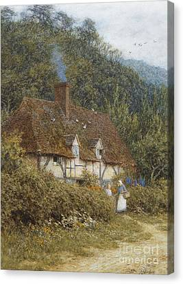 Country Lane Canvas Print - Cottage Near Witley Surrey by Helen Allingham
