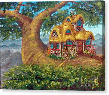 Canvas Print featuring the painting Cottage On A Branch From Arboregal by Dumitru Sandru