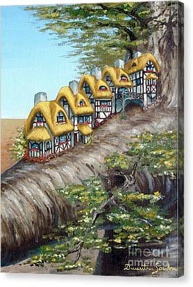 Canvas Print featuring the painting Cottage Row From Arboregal by Dumitru Sandru
