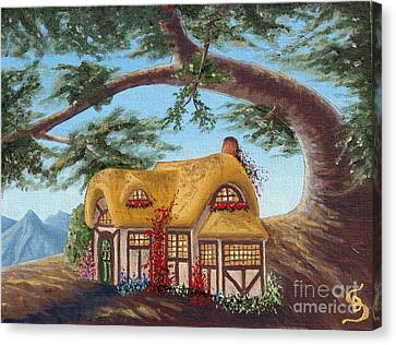 Canvas Print featuring the painting Cottage Under A Branch From Arboregal by Dumitru Sandru
