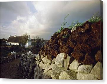 Cottage With Turf Stack, Gorumna Canvas Print