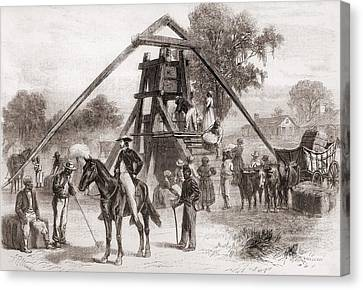 Cotton Press In Operation In The South Canvas Print by Everett
