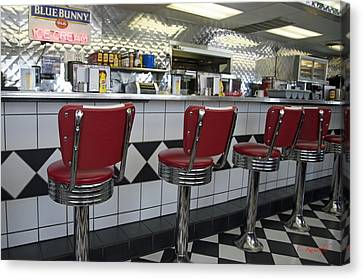 Old Diner Bar Stools Canvas Print - Counter Service by Cheri Randolph