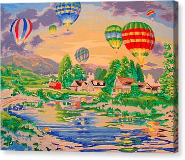Country Balloon Ride Canvas Print by Amy Bradley