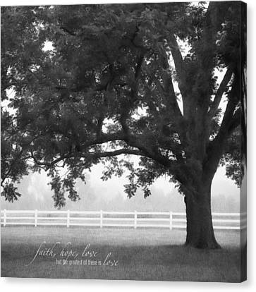 Country Fence Canvas Print by Mary Hershberger