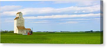 Country Grain Elevator Panoramic Canvas Print by Corey Hochachka