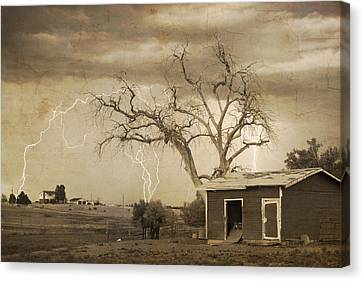 The Lightning Man Canvas Print - Country Horses Lightning Storm Ne Boulder County Co 76septx by James BO  Insogna