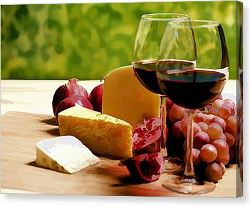 Countryside Wine  Cheese And Fruit Canvas Print by Elaine Plesser