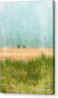 Couple On Beach With Dog Canvas Print by Jill Battaglia
