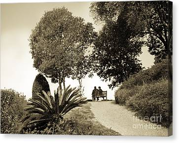 Couple On The Bench In Venice Canvas Print by Madeline Ellis