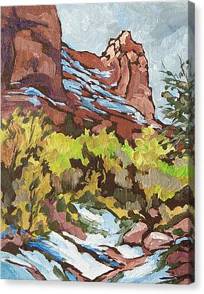 Snow Melt Canvas Print - Courthouse Rock by Sandy Tracey