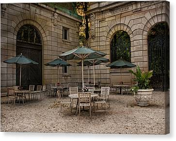 Courtyard Dining Canvas Print by Robin-Lee Vieira