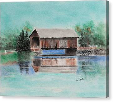 Covered Bridge Allegheny County Canvas Print by Paul Cubeta