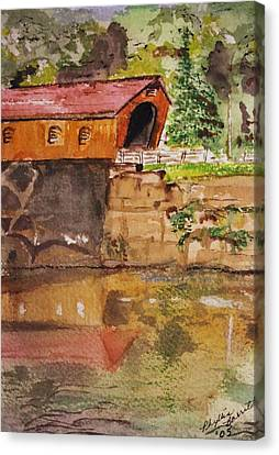 Covered Bridge And Reflection Canvas Print by Phyllis Barrett