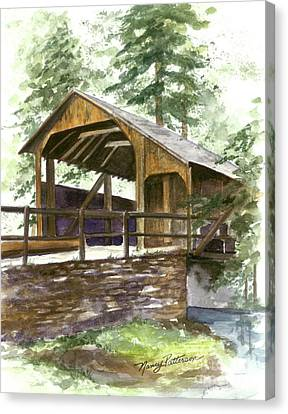Canvas Print featuring the painting Covered Bridge At Knoebels  by Nancy Patterson