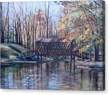 Covered Bridge At Lake Roaming Rock Canvas Print by Donna Tuten