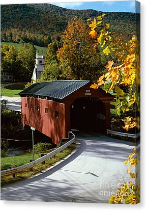 Covered Bridge In Vermont Canvas Print by Rafael Macia and Photo Researchers