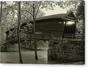 Canvas Print featuring the photograph Covered Bridge by Mary Almond