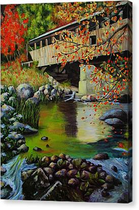 Covered Bridge Canvas Print by Suni Roveto