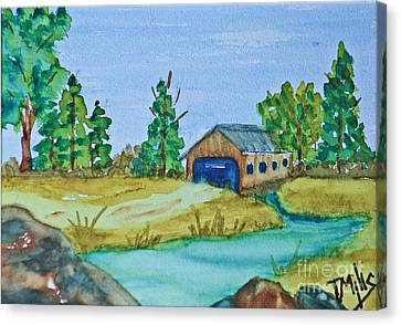 Covered Bridge Canvas Print by Terri Mills