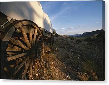 Covered Wagon At Bar 10 Ranch Canvas Print