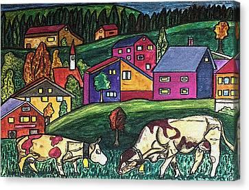 Cow Art Canvas Print by Monica Engeler