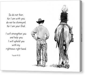 Cowboy And Rider With Bible Verse Canvas Print by Joyce Geleynse