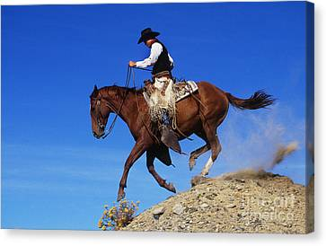 Cowboy Canvas Print by George D Lepp and Photo Researchers
