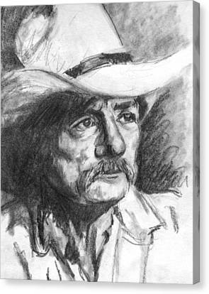 Cowboy In Hat Sketch Canvas Print by Kate Sumners