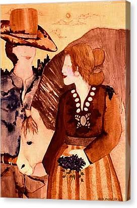 Cowboy Love Canvas Print by Dede Shamel Davalos