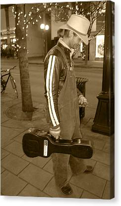 Canvas Print featuring the photograph Cowboy Musician On Streets by Kym Backland
