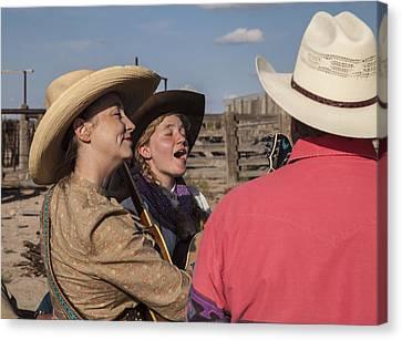 Cowgirl Serenading The Cowboys Canvas Print by Ralph Brannan