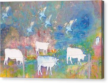 Cows And Birds Canvas Print by Jeff Burgess