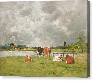 Cows In A Field Under A Stormy Sky Canvas Print