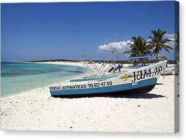 Canvas Print featuring the photograph Cozumel Mexico Fishing Boats On White Sand Beach by Shawn O'Brien