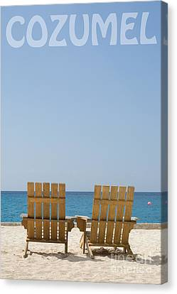 Canvas Print featuring the photograph Cozumel Mexico Poster Design Beach Chairs And Blue Skies by Shawn O'Brien