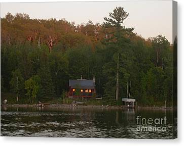 Cozy Cabin Sunset Soaked Canvas Print
