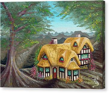 Canvas Print featuring the painting Cozy Cottage From Arboregal by Dumitru Sandru