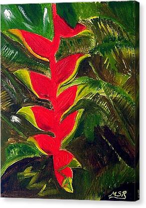 Crab Claw Heliconia Canvas Print by Maria Soto Robbins