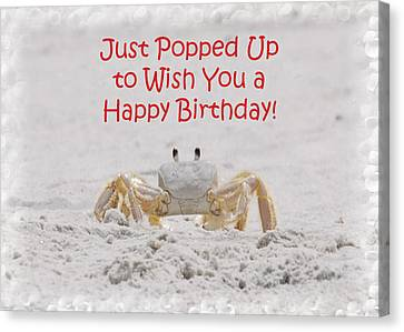Crab Happy Birthday Canvas Print by Judy Hall-Folde
