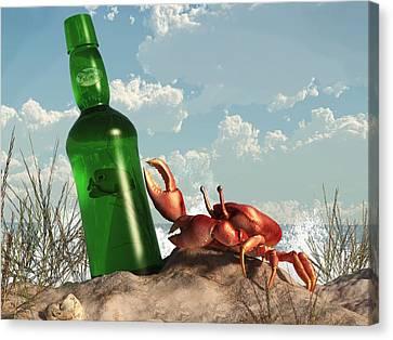 Crab With Bottle On The Beach Canvas Print by Daniel Eskridge