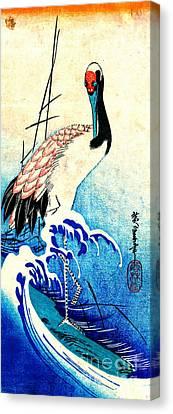 Crane Among Waves 1833 Canvas Print