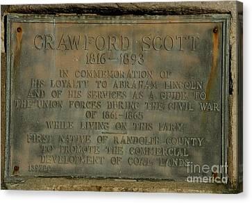 Crawford Scott Historical Marker Canvas Print by Randy Bodkins
