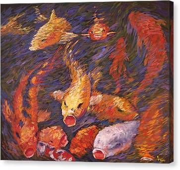 Canvas Print featuring the painting Crazed Clear Creek Koi by Charles Munn